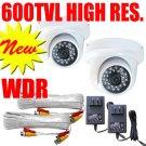 "(2) 1/3"" SONY CCD Camera 600 TVL Indoor Dome White HD"