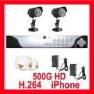 4 CH DVR 2 Camera H.264 500GB Outdoor Security System