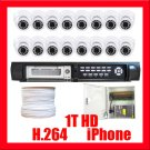 16 CAMERA INDOOR DOME SECURITY DVR SYSTEM H.264  1TB