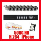 8 Camera H.264 Video CCTV Security Surveillance System