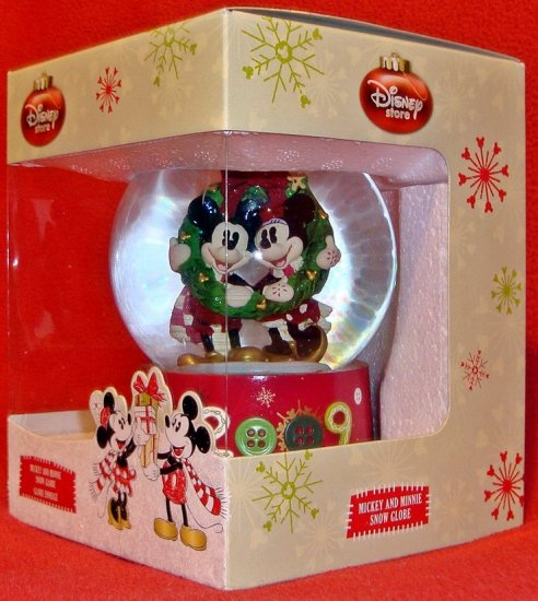 Disney Store Christmas Mickey & Minnie Snow Globe ~ NEW