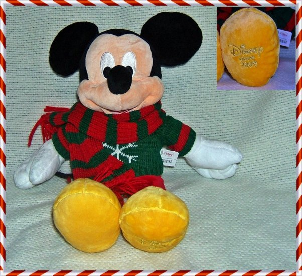 "Disney Store Christmas Mickey Plush 16"" Exclusive ~ NEW"