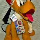 "Disney Store Christmas Retro Pluto Plush 12"" ~ NEW"