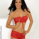 Strapless lace top with matching ribbon side tanga short.80023