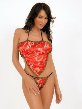 2 piece oriental dragon print top and g-string.80047