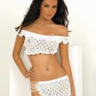2 piece crocheted off-the-shoulder top and skirt, both with lace-up sides.80035