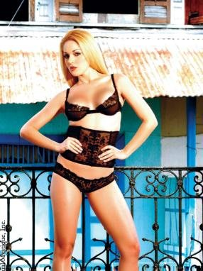 Sheer embroidered underwire bra with matching cinch and little brief bikini.80141