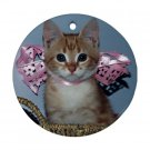 Custom print round ceramic ornament