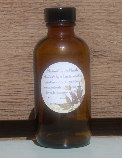 Muscle and Joint Rub Herbal Infused Oil Natural 4 Ounces