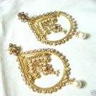India Pearl Polki Kundan BIG Earring Bollywood Indian