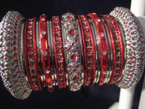 Indian Ethnic Bridal Bangles Silver Tone Red Kada Size 2.4(XS) 2.6(S) 2.8(M)