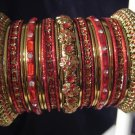 Indian Ethnic Bridal Bangles Gold Tone Red Kada Size 2.4(XS) 2.6(S) 2.8(M)