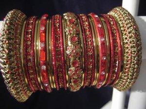 Indian Ethnic Bridal Bangles Gold Tone Red Kada Size 2.4(XS) 2.6(S) 2.8(M)