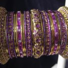 Indian Ethnic Bridal Bangles Gold Tone Purple Kada Size 2.4(XS) 2.6(S) 2.8(M)