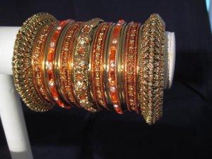 Indian Ethnic Bridal Bangles Gold Tone Orange Kada Size 2.4(XS) 2.6(S) 2.8(M)