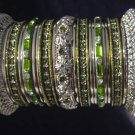 Indian Ethnic Bridal Bangle Silver Tone Mehandi Green Size 2.4(XS) 2.6(S) 2.8(M)