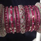 Indian Ethnic Bridal Bangle Silver Tone Hot Pink Kada Size 2.4(XS) 2.6(S) 2.8(M)