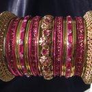 Indian Ethnic Bridal Bangles Gold Tone Hot Pink Kada Size 2.4(XS) 2.6(S) 2.8(M)