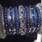 Indian Ethnic Bridal Bangles Silver Tone Blue Kada Size 2.4(XS) 2.6(S) 2.8(M)