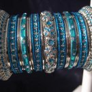 Indian Ethnic Bridal Bangles Silver Tone Turquoise Size 2.4(XS) 2.6(S) 2.8(M)