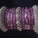 Indian Ethnic Bridal Bangles Silver Tone Purple Kada Size 2.4(XS) 2.6(S) 2.8(M)
