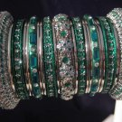 Indian Ethnic Bridal Bangles Silver Tone Green Kada Size 2.4(XS) 2.6(S) 2.8(M)