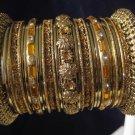 Indian Ethnic Bridal Bangles Set Gold Tone Gold Kada Size 2.4(XS) 2.6(S) 2.8(M)