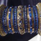 Indian Ethnic Bridal Bangles Set Gold Tone Blue Kada Size 2.4(XS) 2.6(S)