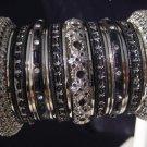 Indian Ethnic Bridal Bangles Silver Tone Black Kada Size 2.4(XS) 2.6(S) 2.8(M)