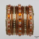 Girls Bangles Bracelets Orange Gold Set Size 2.0 Indian