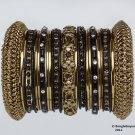 Indian Ethnic Bridal Bangles Set Gold Tone Black Kada Size 2.4(XS)