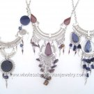 10 ASSORTED SEMI-PRECIOUS STONE & GLASS NECKLACES HANDMADE WHOLESALE PERUVIAN JEWELRY ART