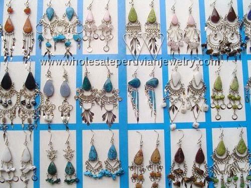 10 PAIRS of SEMI-PRECIOUS STONE EARRINGS HANDMADE WHOLESALE PERUVIAN JEWELRY ART