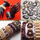 12 MIXED WOOD BRACELETS HANDMADE PERUVIAN JEWELRY WHOLESALE ART