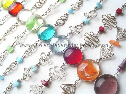 10 COLORFUL MURANO GLASS BRACELETS HANDMADE PERUVIAN JEWELRY WHOLESALE ART