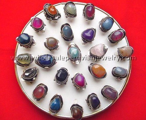 8 MIXED COLORFUL AGATE STONE RINGS HANDMADE PERUVIAN JEWELRY WHOLESALE ART