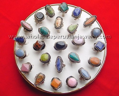12 SEMI-PRECIOUS STONE RINGS HANDMADE PERUVIAN JEWELRY WHOLESALE ART
