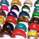 50 COLORFUL COCONUT RINGS HANDMADE PERUVIAN JEWELRY WHOLESALE ART
