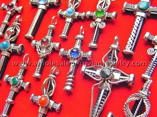 15 ASSORTED ALPACA SILVER RUBBER CROSS PENDANTS HANDMADE PERUVIAN JEWELRY WHOLESALE ART