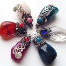 10 COLORFUL AGATE CERAMIC PENDANTS HANDMADE PERUVIAN JEWELRY WHOLESALE ART
