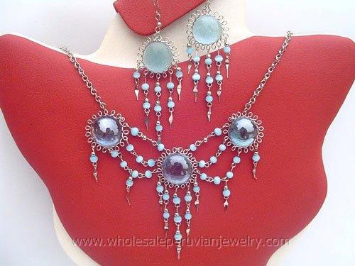 7 SEMI-PRECIOUS STONE & GLASS EARRINGS & NECKLACE SETS HANDMADE PERUVIAN JEWELRY WHOLESALE ART