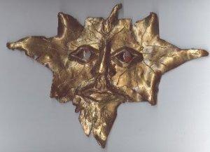 Faux Bronze Green Man Sculpture - polymer clay