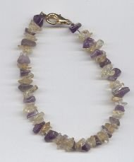 Genuine Amethyst & Citrine Chip Bracelet