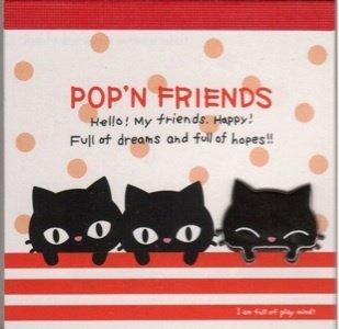 KAMIO Pop 'N Friends Mini Memo Pad Black Cats Kawaii
