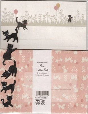 ARK ROAD Sanpo-Michi Black Cat Balloons Letter Set