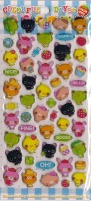 CRUX Colorful Days Animal Epoxy Sticker Set Kawaii