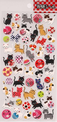 KAMIO Kitten and Balls Japanese Paper Stickers