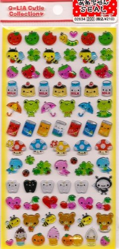 Q-LIA Sweet Tooth Sticker Set Candy Cherries Mushrooms