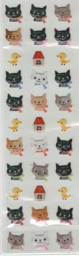 ARK ROAD Kitties with Scarves Puffy Sticker Set