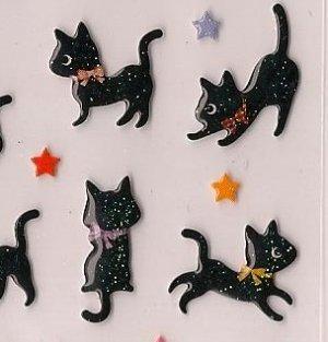 ARK ROAD Black Cat with Stars Puffy Sticker Set